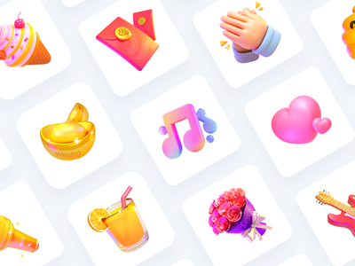 WeSing Live gift dribbble card c4d