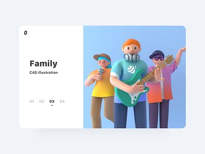 C4D illustration-Family c4d