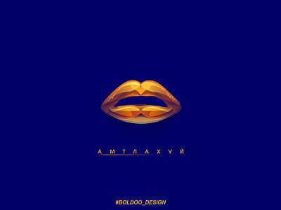 Golden lips gold background motion design illustration
