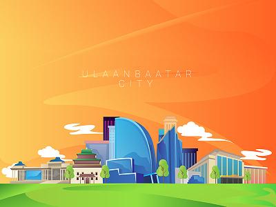 ULAANBAATAR buildings city motion character design illustration