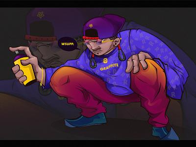Mongolian  graffiti writer creative motion graffiti design character design illustration