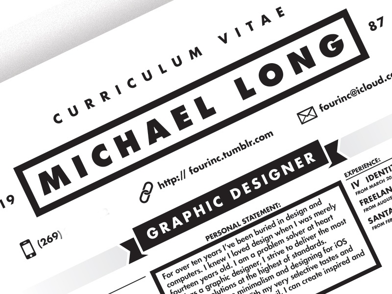curriculum vitae by michael belong dribbble dribbble Basic Resume Samples curriculum vitae cv curriculum vitae resume bw futura greyscale
