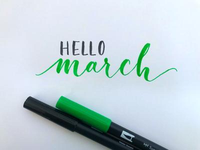 Hello March - Brush Lettering calligraphy brush lettering