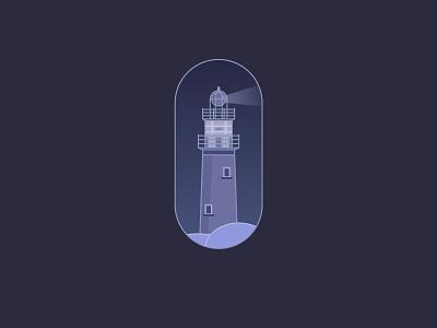 Lighthouse - Dark/Night mode art lighthouse dark theme dark mode dark ipadpro ipadproart affinity designer graphic  design flat minimal dailyui web illustration vector design