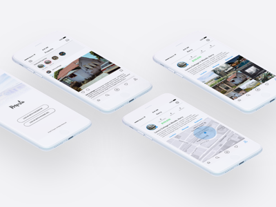 Property Showcasing App account kit login location map profile feed interface ui ios app mobile ux
