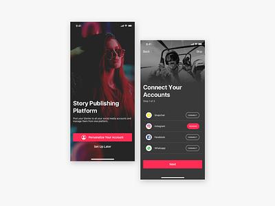 Story Post App - Onboarding Screens onboarding ios app interface design ux ui