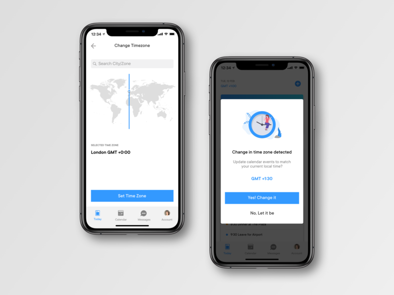 Change Timezone Screens typography vector dailyui ios app interface ux ui design