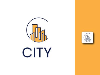City Logo c letter property cityscape line smart building professional minimal creative modern branding logodesign logo city
