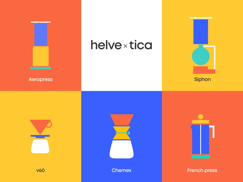 Helvetica Coffee Brand vector chemex aeropress frenchpress v60 siphon speciality coffee brand identity branding coffeeshop illustration art illustrator illustration logo helvetica coffee