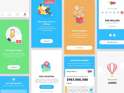 Lottery Mobile luckydraw illustration game million mobile responsive mobile web design mobile app experience mobile app development mobile app design gambling gamble mega million ux-ui mobile app lucky draw lottery
