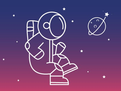 Astronaut uigradient gradient flat design sky stars univers earth planet astronaut