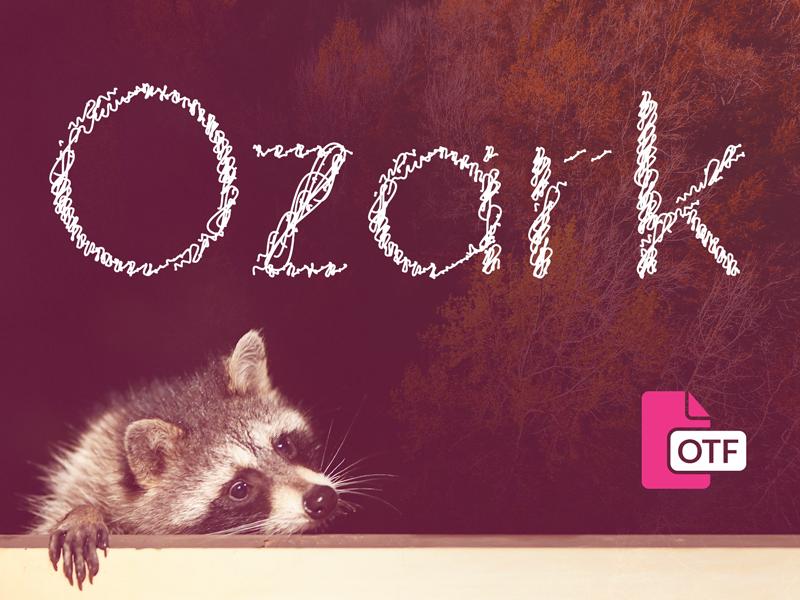 Ozark - Free Font handwritten glyph opentype missouri wildlife raccoon typeface typography download font free ozark