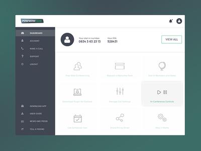Powwownow Dashboard dashboard interface design ui ux