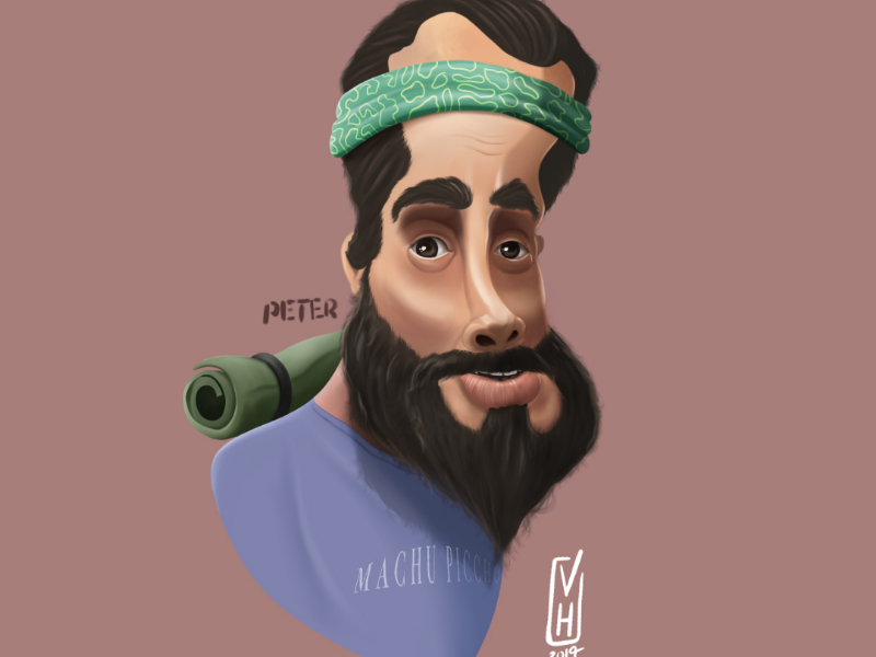 Peter travel ilustración caricature art