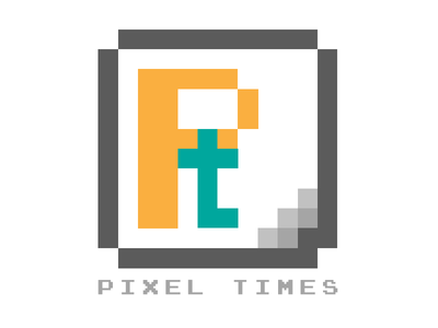 Pixel Times monogram yellow cartoon pixelated logo pixel