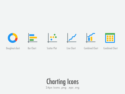 Free : 24px Charting Icons data table data combined chart scatter plot bar chart doughnut chart charts free icon download download icons download free icons free icon set icon set icons set icons icon freebies