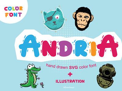 Andria ( Hand Drawn SVG Color Font ) logo illustration otf