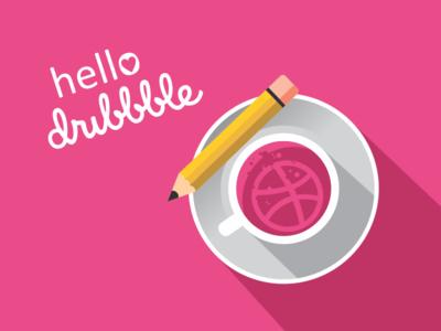 Hello Dribble pencil coffee invitation debut dribbble