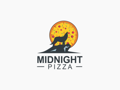 Midnight Pizza Logo clever moon howling wolf logo pizza midnight
