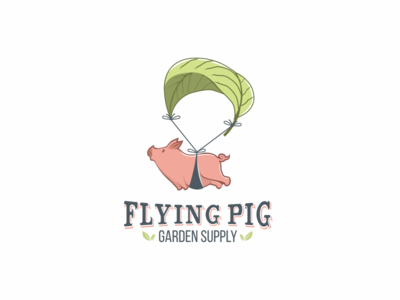 Flying Pig Garden Supply Logo parachute leaf logo supply garden pig flying
