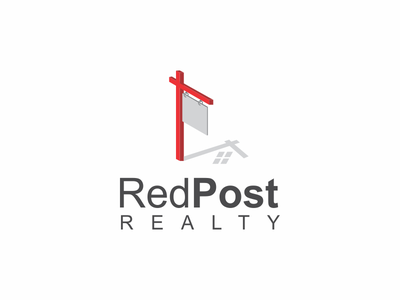 Red Post Realty Logo hidden symbol dual meaning clever logo red post shadow realty