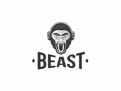 Beast black and white hand drawn angry illustration monkey beast