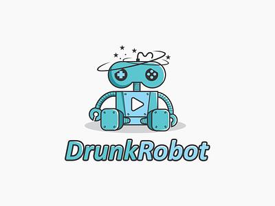 Drunk Robot Logo Concept youtube mascot gaming concept logo robot drunk