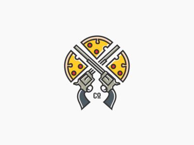 Guns And Pizza Logo For Sale six barrel minimalist clean revolver logo pizza guns