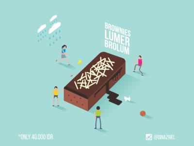 Brolum tiny people flat design scene illustration isometric brolum brownies