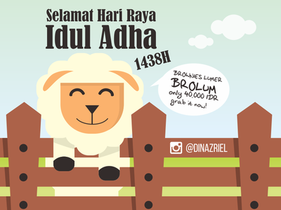 Selamat Hari Raya Idul Adha 1438H idul adha sheep goat brownies illustration design flat