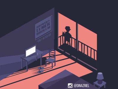 We Do Deliver room scene isometric illustration design flat