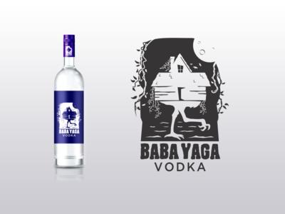 Baba Yaga Vodka Logo Concept baba yaga label vodka logo