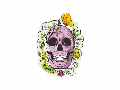 Skull butterfly flower illustration skull
