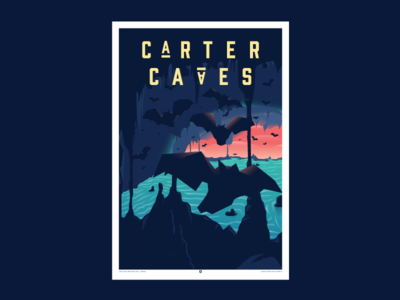 C Λ R T E R C Λ V E S carter caves kentucky state parks foundation indiana bats nature poster print