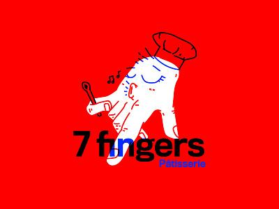 7 fingers branding multiply overprint shop pastry patisserie chef hand 1940s logo ky illustration kentucky louisville