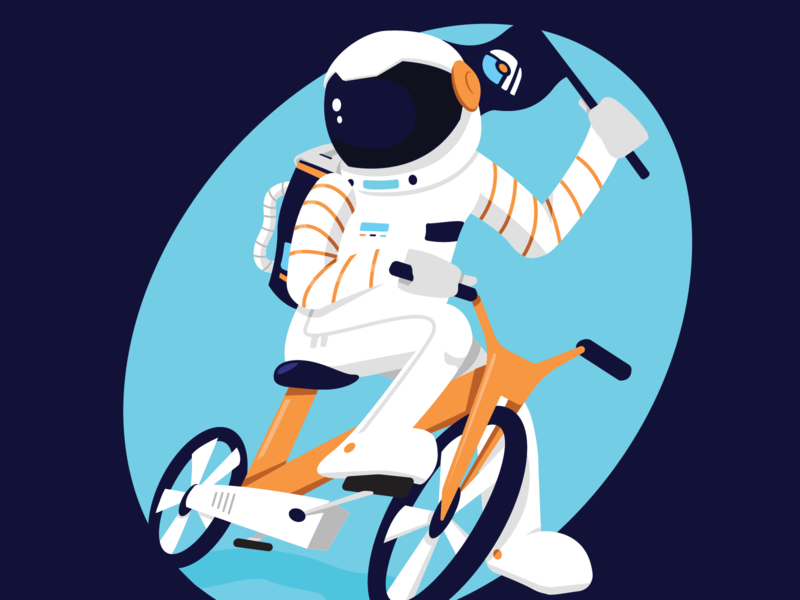 ECC Astronaut sticker biking transport bicycle spaceman space environmental enviroment design vector illustration ky kentucky louisville
