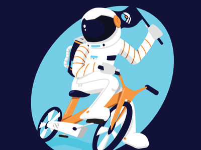 ECC Astronaut sticker biking transport bicycle spaceman space environmental enviroment design vector illustration ky kentucky louisville