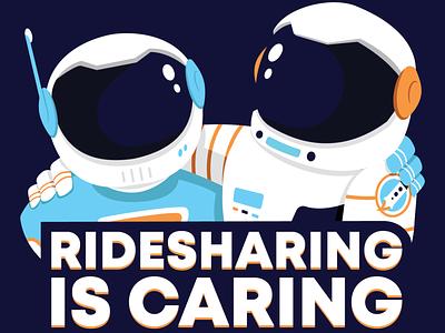 ECC Space Buds buds ridesharing rideshare caring friends buddies spaceman astronaut environmental enviroment vector design illustration ky kentucky louisville