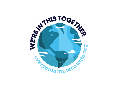 """ECC """"We're in this together"""" rideshare commute in this earth green planet environmental enviroment globe blue design vector illustration ky kentucky louisville"""