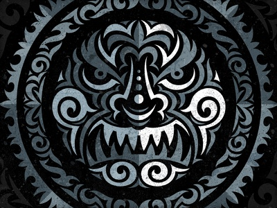 Dark Matter Tribal Design vonster tribal face texturized ornamental