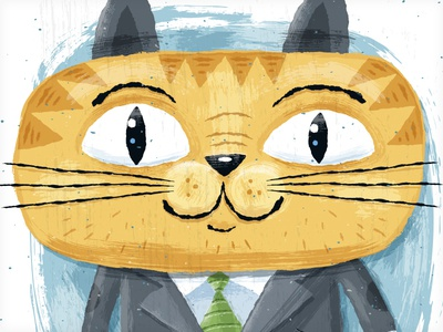 Painted Cat painterly animal texture brush character cat vector vonster