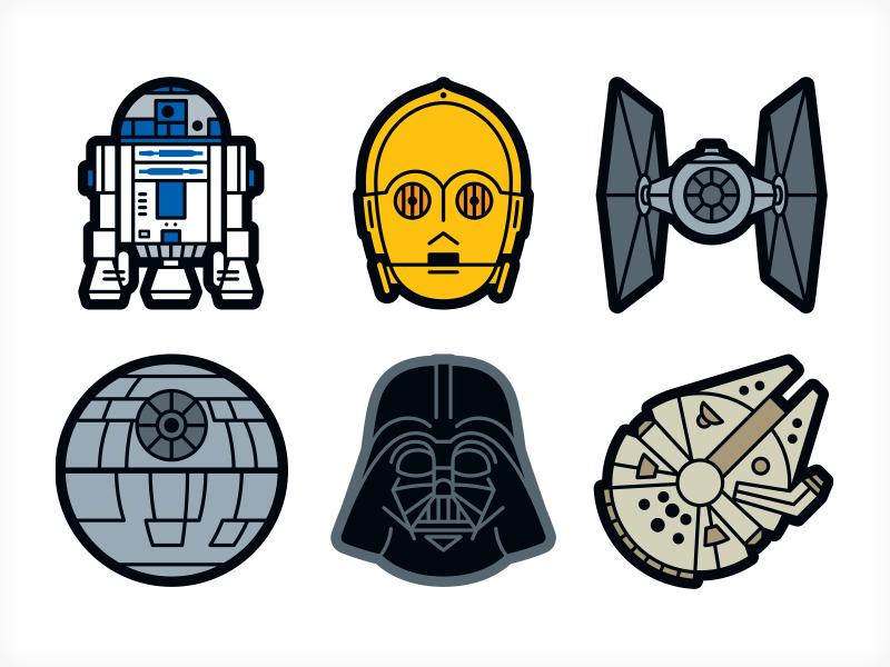 star wars sticker icons by von glitschka dribbble. Black Bedroom Furniture Sets. Home Design Ideas