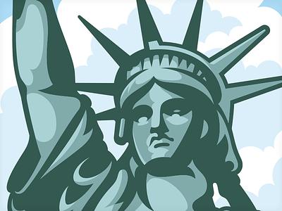 New York Cherry Cheesecake packaging vector illustration new york statue liberty vonster