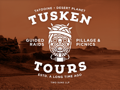 Tusken Tours novelty star wars logo identity brand vonster