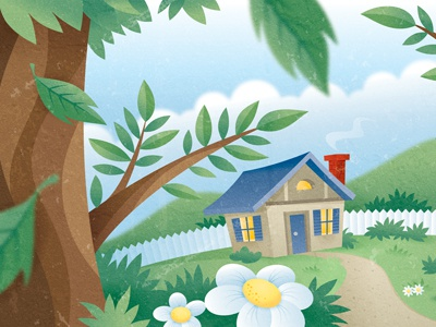 Over the hills and through the woods.... vector illustration textures
