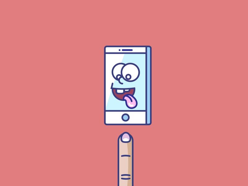 Finger it lick app finger phone smart phone vector fun art fun art illustration