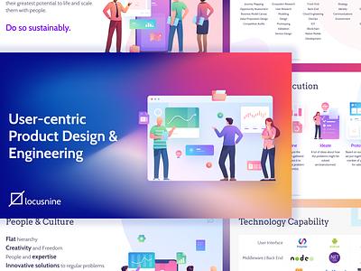Locusnine Corporate Presentation typography illustraion icon vector ui illustrator branding design