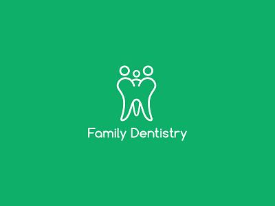 Family Dentistry monoline lineart tooth teeth local branding dentist logo