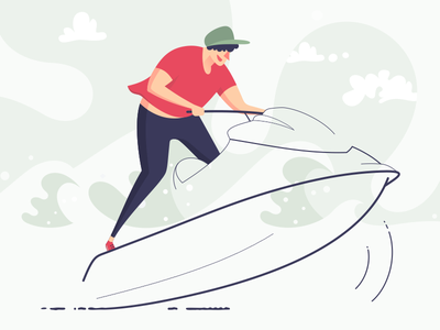 Jet ski riding jet ski riding vector illustration design character
