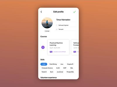 Profile settings for DailyUI mobile interface edit profile settings ux ui dailyui
